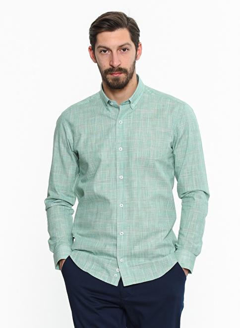 Comienzo Slim Fit Uzun Kollu Gömlek Yeşil